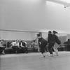 "(2L-3L) Choreographer George Balanchine and composer Igor Stravinsky watching dancers Barbara Milberg, Todd Bolender and Barbara Walczak rehearsing for New York City Ballet production of ""Agon"" (New York)"
