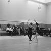 "(L-2L) Choreographer George Balanchine and composer Igor Stravinsky watching dancers Barbara Milberg and Barbara Walczak rehearsing for New York City Ballet production of ""Agon"" (New York)"