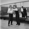 """(L-R) Choreographer George Balanchine and composer Igor Stravinsky at rehearsal of New York City Ballet production of """"Agon"""" (New York)"""
