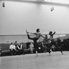 """(L-2L) Choregrapher George Balanchine and composer Igor Stravinsky watching dancers Diana Adams and Arthur Mitchell rehearsing New York City Ballet production of """"Agon"""" (New York)"""
