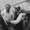 "(L-2R) Choreographer George Balanchine & composer Igor Stravinsky at rehearsal of New York City Ballet production of ""Agon"" (New York)"