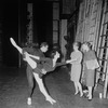 New York City Ballet - Labanotation director Ann Hutchinson (2R) shows system to dancers Judith Green and Nicholas Magallanes, at right is unidentified (New York)