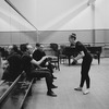 "New York City Ballet production of ""Electronics"" with choreographer George Balanchine rehearsing dancer Violette Verdy as composer Remi Gassmann looks on (New York)"
