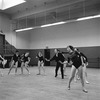 "New York City Ballet rehearsal of ""Electronics"" with choreographer George Balanchine working with dancers Leslie Ruchala and Carole Fields (New York)"
