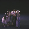 """New York City Ballet production of """"Ives, Songs"""" with Otto Neubert holding baby, choreography by Jerome Robbins (New York)"""
