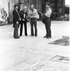 "New York City Ballet designer Rouben Ter-Arutunian oversees painting of drops for his sets for ""Tricolore"" with stage managers Ronald Bates and Perry Silvey, choreography by Peter Martins, Jerome Robbins and Jean-Pierre Bonnefous (New York)"