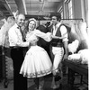 "New York City Ballet costume fitting for ""Tricolore"" with designer Rouben Ter-Arutunian with Elise Ingalls and Paul Frame, choreography by Peter Martins, Jerome Robbins and Jean-Pierre Bonnefous (New York)"