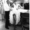 "New York City Ballet costume fitting for ""Tricolore"" with designer Rouben Ter-Arutunian with Karin Von Aroldingen, choreography by Peter Martins, Jerome Robbins and Jean-Pierre Bonnefous (New York)"