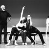 """New York City Ballet rehearsal of """"Ives, Songs"""" with Jerome Robbins and dancers Margaret Tracey, Katrina Killian and Stacy Caddell, choreography by Jerome Robbins (New York)"""