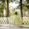 "New York City Ballet - dancer Mimi Paul in costume for ""Emeralds"" poses for publicity for opening of new theatre at Saratoga Performing Arts Center (Saratoga)"
