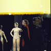 Martha Graham on stage during rehearsal, Janet Eilber at left