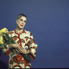 Martha Graham poses with flowers