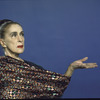 """Martha Graham poses in robe from """"Lady of the House of Sleep"""", choreography by Martha Graham"""