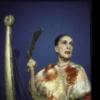 Martha Graham poses with set piece by Isamu Noguchi