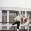 "New York City Ballet - Publicity photo Patricia McBride and Edward Villella in front of the unfinished New York State Theater at Lincoln Center, in ""Tarantella"" costume, choreography by George Balanchine (New York)"