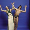 "Martha Graham Dance Company, studio portrait of Peggy Lyman and Donlin Foreman in ""Night Journey"", choreography by Martha Graham"