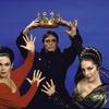 "Martha Graham Dance Company, studio portrait of Maxine Sherman, Tim Wengard and Peggy Lyman in ""Episodes"", choreography by Martha Graham"