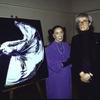 Choreographer Martha Graham and artist Andy Warhol with painting of Martha Graham (after Barbara Morgan photographs)