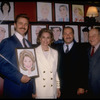 "Actors (L-2L) John Schneider & Cyd Charisse, producer Sam Crothers, and restaurateur Vincent Sardi at hanging of Ms. Charisse's caricature on the wall of Sardi's restaurant to honor her Broadway debut in musical ""Grand Hotel"" (New York)"