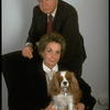 Portrait of theatrical producers Alexander Cohen & wife Hildy Parks with pet dog (New York)