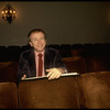 """Playwright Terrence McNally sitting in the audience at the Martin Beck Theater, where his musical """"The Rink"""" is playing (New York)"""