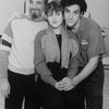 """(L-R) Composer Stephen Sondheim, actress Bernadette Peters and actor Mandy Patinkin during a break in rehearsing the Broadway production of their musical """"Sunday In The Park With George.""""."""