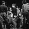 "Director Jerry Zaks (C) and choreographer Christopher Chadman (2L, back to camera) with cast incl. Nathan Lane (L) and Josie DeGuzman (3L) during a rehearsal of the Broadway revival of the musical ""Guys And Dolls.""."