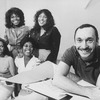 "Director/choreographer Michael Bennett (R) working with actresses (L-R) Terry Burrell, Sheryl Lee Ralph, Loretta Devine and Jennifer Holliday during a rehearsal of the Broadway musical ""Dreamgirls.""."
