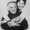Actor Richard Burton getting a hug from daughter, actress Kate Burton