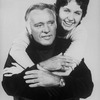 Actor Richard Burton getting a hug from daughter, actress Kate Burton