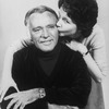 Actor Richard Burton getting a kiss from daughter, actress Kate Burton