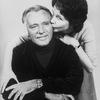 Actor Richard Burton getting a kiss from daughter, actress Kate Burton