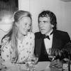 Actress Meryl Streep and producer Joe Papp celebrating after he made his cabaret debut at the Ballroom.
