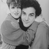 """Actors Bernadette Peters and Mandy Patinkin hugging during a rehearsal for the Broadway production of the musical """"Sunday In The Park With George""""."""