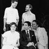 "(L-R) Playwright/director David Hare with actors Elizabeth McGovern, Roshan Seth, Zeljko Ivanek and Alfre Woodard on the set of the NY Shakespeare Festival production of the play ""A Map Of The World"""