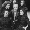 "Director Peter Brook (C) with five singers who alternate as Carmen in the Broadway production of the opera ""La Tragedie De Carmen."" (clockwise frombottom L Cynthia Clarey, Eva Saurova, Helene Delavault, Emily Golden and Patricia Schuman)"