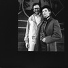 """Actress Betty Buckley (R) in drag with composer Rupert Holmes on the set of the Broadway production of the musical """"The Mystery Of Edwin Drood.""""."""