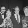 "(L-R) Composer Rupert Holmes, singer Cleo Laine, actors George Rose and Betty Buckley at the opening night party of the Broadway production of the musical ""The Mystery Of Edwin Drood.""."