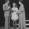 """Actors Barry Nelson (L) and Liza Minnelli (R) with an unidentified actress in a scene from the Broadway production of the musical """"The Act"""""""