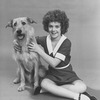 "Actress Andrea McArdle as Little Orphan Annie with Sandy the dog in a scene from the Broadway production of the musical ""Annie.""."