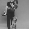 "Actors Andrea McArdle as Little Orphan Annie, Reid Shelton as Daddy Warbucks and Sandy the dog in a scene from the Broadway production of the musical ""Annie.""."