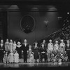 Shelly Burch, John Schuck (as Daddy Warbucks) and Allison Smith (as Little Orphan Annie) with full company in finale for the stage production Annie
