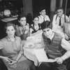 """Actors Joan Copeland (L), Elizabeth Perkins (2L), Mark Nelson (4L), Jonathan Silverman (3R) and Charles Cioffi (2R) in a scene from the Broadway production of the play """"Brighton Beach Memoirs.""""."""