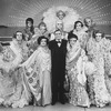 """Actor Peter Marshall (C) with drag performers in a scene from the Broadway production of the musical """"La Cage Aux Folles."""""""