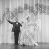 "(L-R) Actors Gene Barry and Walter Charles (in drag) in a scene from the Broadway production of the musical ""La Cage Aux Folles."""