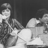 "Actors Anita Gillette and David Groh talking on telephones in a scene from the Broadway production of the play ""Chapter Two."""