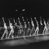 "Cast in rehearsal clothes in a scene from the Broadway production of the musical ""A Chorus Line.""."
