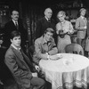"""(L-R) Actors Lois de Banzie, Lester Rawlins, Richard Seer, Brian Murray, Barnard Hughes, Sylvia O'Brien, Ralph Williams and Mia Dillon in a scene from the Broadway production of the play """"Da.""""."""