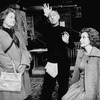 """(L-R) Actors Marge Redmond, Tom Courtenay and Rachel Gurney in a scene from the Broadway production of the play """"The Dresser.""""."""