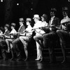 """Actor John McMartin (C) performing on a kickline in a scene from the Broadway production of the musical """"Follies.""""."""